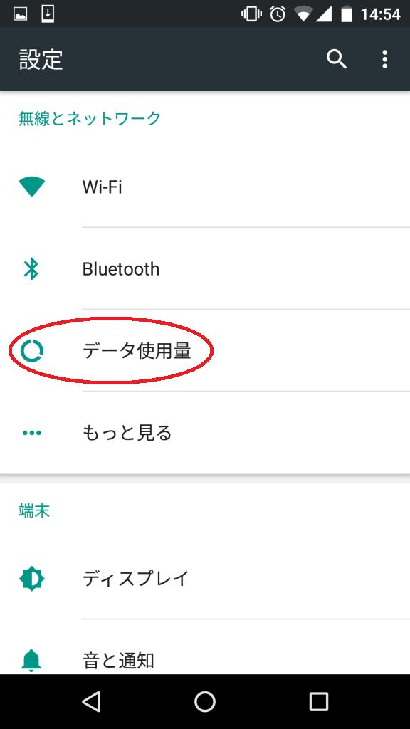 androidデータ使用量